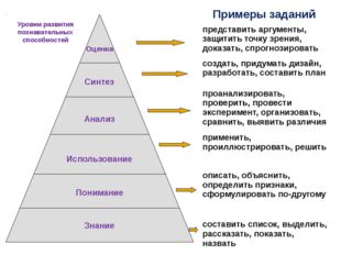Примеры заданий Уровни развития познавательных способностей представить аргу