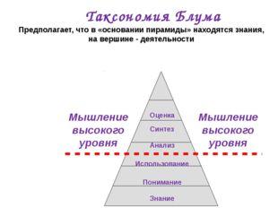 Таксономия Блума Предполагает, что в «основании пирамиды» находятся знания, н