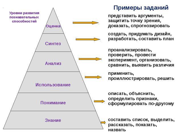 Примеры заданий Уровни развития познавательных способностей представить аргу...
