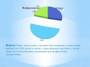Вывод: Опрос среди детей, у которых было выявлено плоскостопие показал, что 5