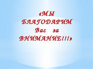 «МЫ БЛАГОДАРИМ Вас за ВНИМАНИЕ!!!»