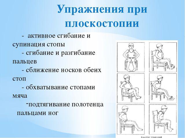 Упражнения при плоскостопии - активное сгибание и супинация стопы - сгибание...