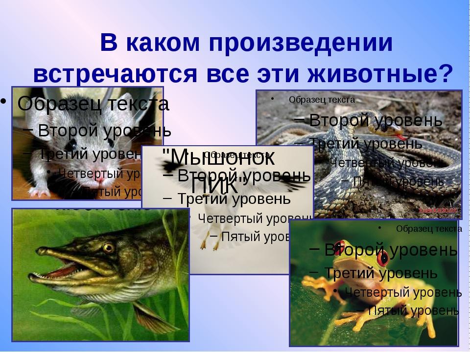 """В каком произведении встречаются все эти животные? """"Мышонок ПИК"""""""