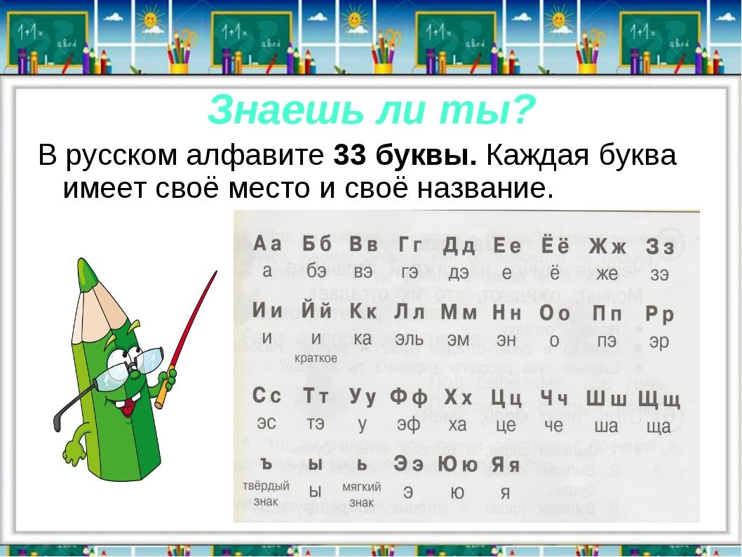 Знаешь ли ты? В русском алфавите 33 буквы. Каждая буква имеет своё место и св...