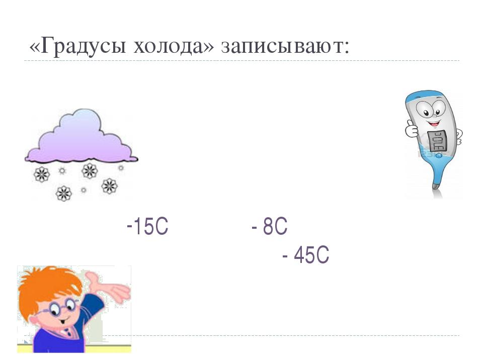 «Градусы холода» записывают: 15С - 8С - 45С