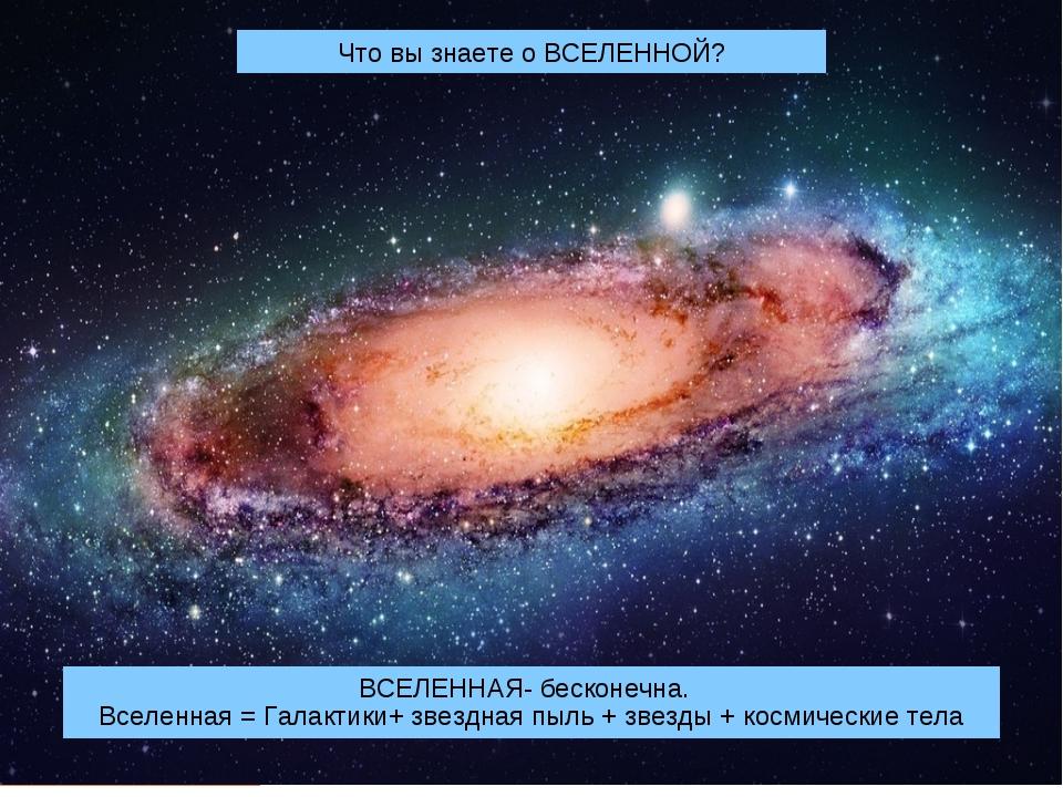 Что вы знаете о ВСЕЛЕННОЙ? ВСЕЛЕННАЯ- бесконечна. Вселенная = Галактики+ звез...
