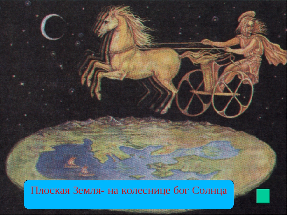 Плоская Земля- на колеснице бог Солнца