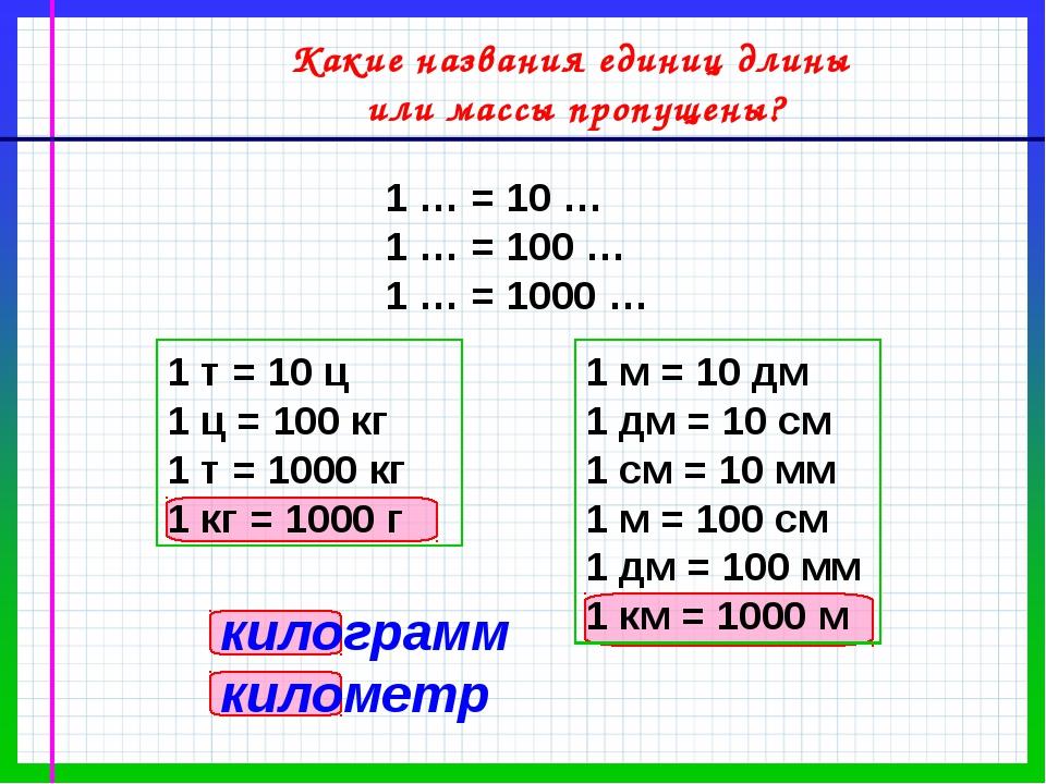 Какие названия единиц длины или массы пропущены? 1 … = 10 … 1 … = 100 … 1 … =...