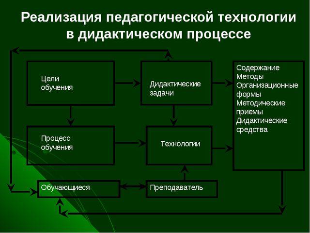 Реализация педагогической технологии в дидактическом процессе