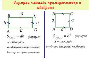 Формула площади прямоугольника и квадрата