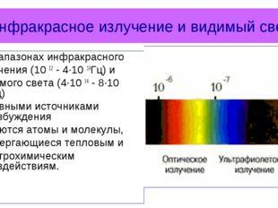 Инфракрасное излучение и видимый свет В диапазонах инфракрасного излучения (1
