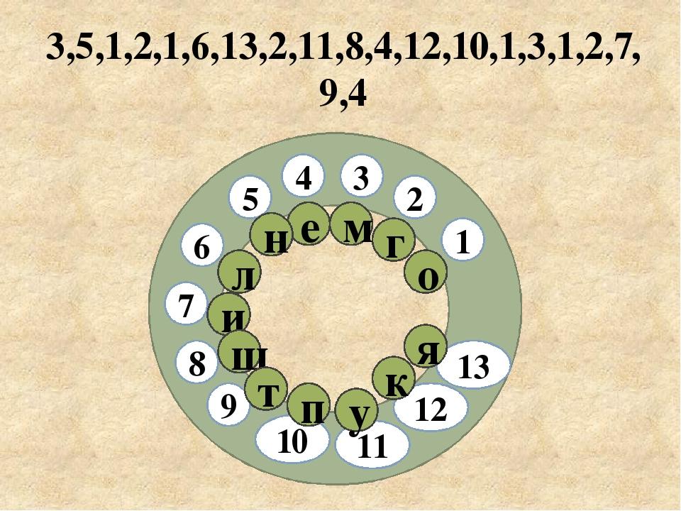 3,5,1,2,1,6,13,2,11,8,4,12,10,1,3,1,2,7,9,4 3 2 5 7 9 10 8 4 6 1 11 12 13 г о...