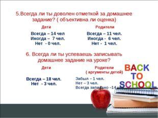 5.Всегда ли ты доволен отметкой за домашнее задание? ( объективна ли оценка)