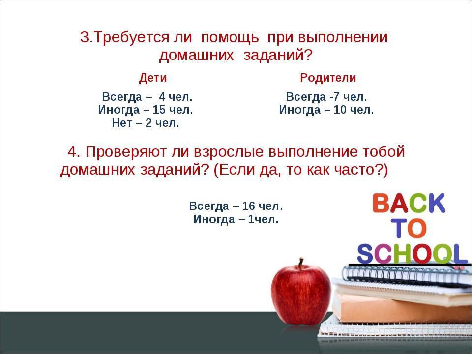 3.Требуется ли помощь при выполнении домашних заданий? Дети  Родители Всегд...