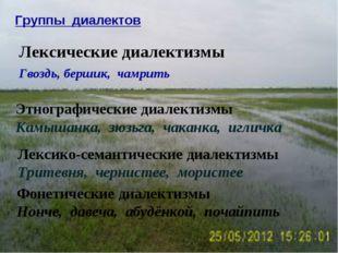 Группы диалектов Лексические диалектизмы Гвоздь, бершик, чамрить Этнографичес