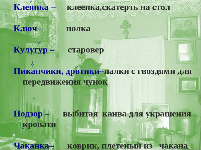 Клеянка – клеенка,скатерть на стол Ключ – полка Кулугур – старовер Пиканчики,...