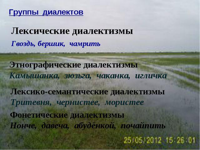 Группы диалектов Лексические диалектизмы Гвоздь, бершик, чамрить Этнографичес...