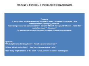 Таблица 5. Вопросы к определению подлежащего Правило В вопросах к определению