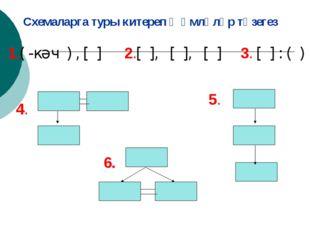 Схемаларга туры китереп җөмләләр төзегез 1.( -кәч ) , [ ] 2.[ ], [ ], [ ] 3.
