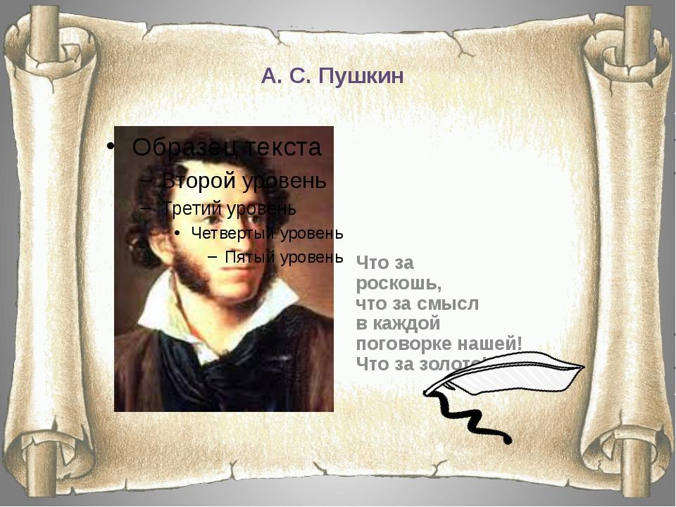 А. С. Пушкин Что за роскошь, что за смысл в каждой поговорке нашей! Что за зо...
