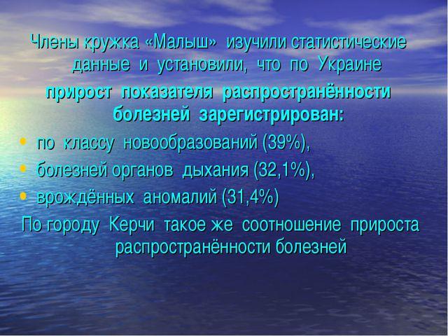 Члены кружка «Малыш» изучили статистические данные и установили, что по Украи...