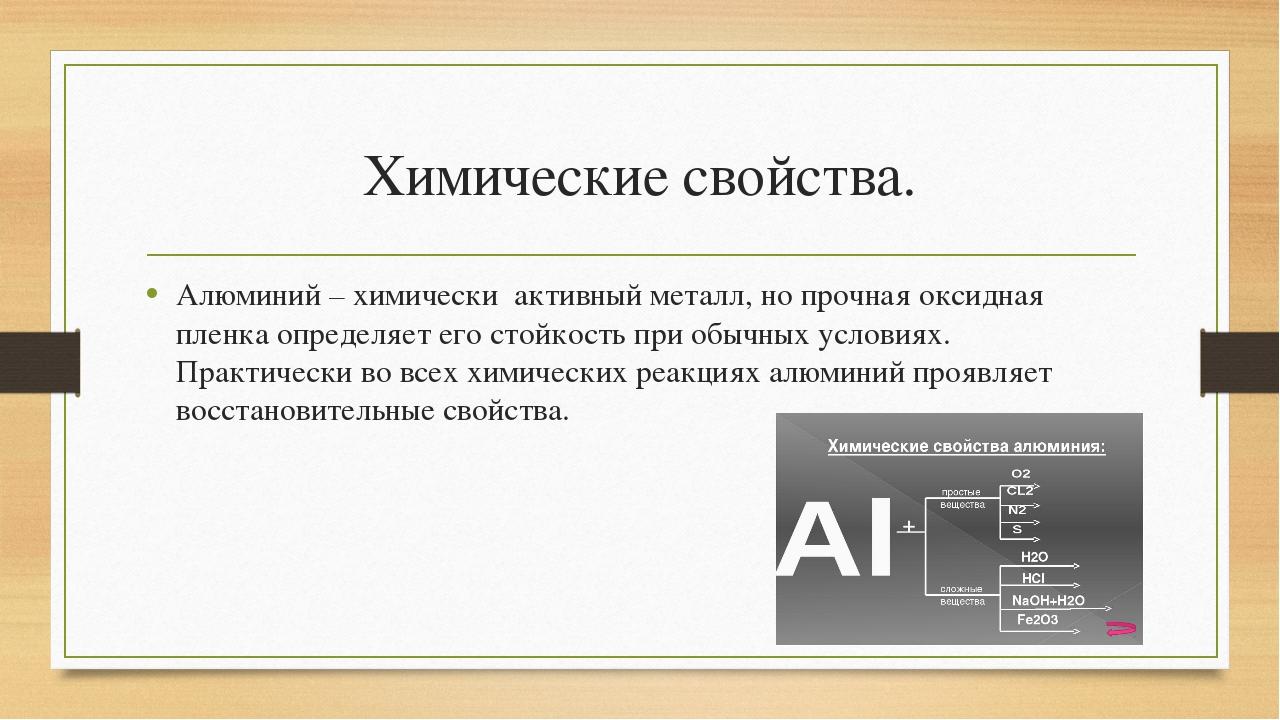 Химические свойства. Алюминий – химически активный металл, но прочная оксидн...