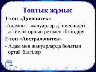 1-топ «Дриопитек» -Адамның жануарлар дүниесіндегі жүйелік орнын ретімен түсін