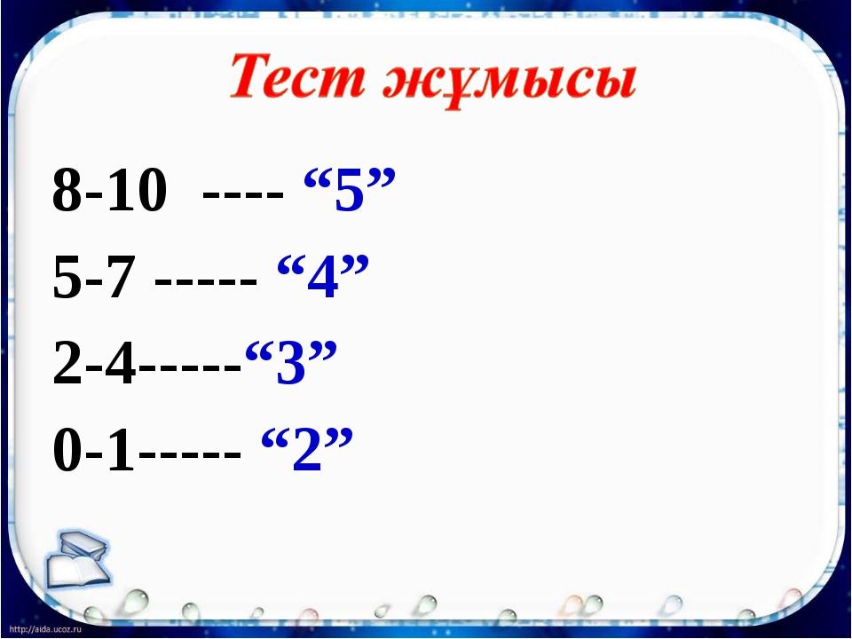 "8-10 ---- ""5"" 5-7 ----- ""4"" 2-4-----""3"" 0-1----- ""2"""
