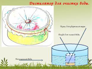 Ткань, для удержания тары. Посуда для чистой воды. Неочищенная вода. Дистиля