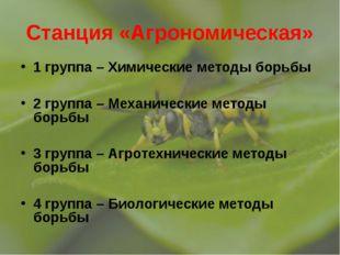 Станция «Агрономическая» 1 группа – Химические методы борьбы 2 группа – Механ