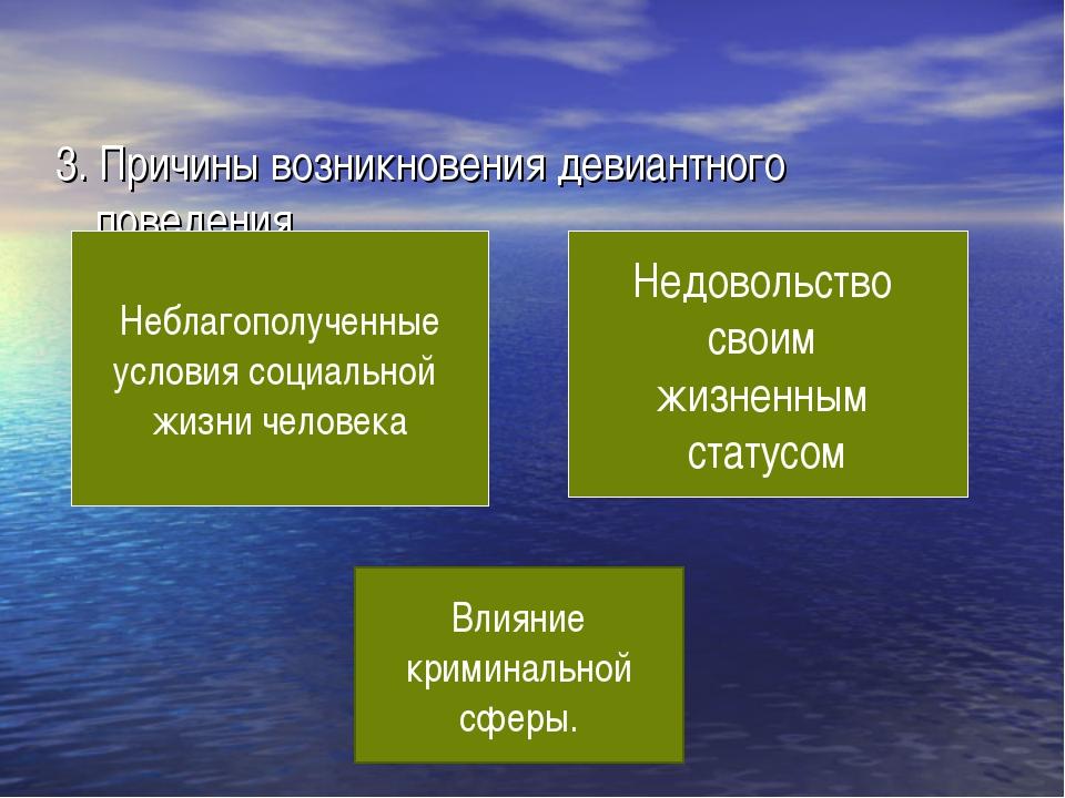 3. Причины возникновения девиантного поведения. Неблагополученные условия со...