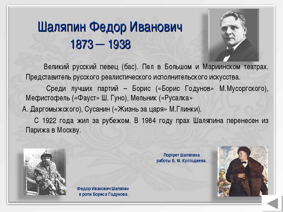 Шаляпин Федор Иванович 1873 ─ 1938 Великий русский певец (бас). Пел в Большо...