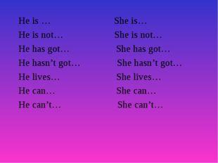 He is … She is… He is not… She is not… He has got… She has got… He hasn't got