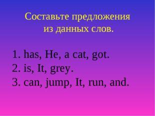 Составьте предложения из данных слов. 1. has, He, a cat, got. 2. is, It, grey