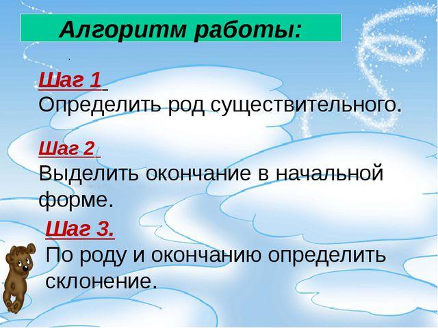 . Алгоритм работы: Шаг 1 Определить род существительного. Шаг 2 Выделить окон...