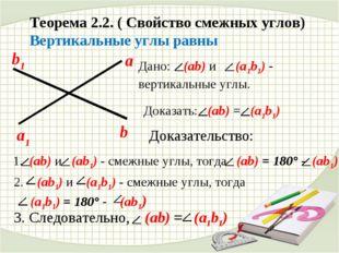 Теорема 2.2. ( Свойство смежных углов) Вертикальные углы равны Дано: (ab) и (