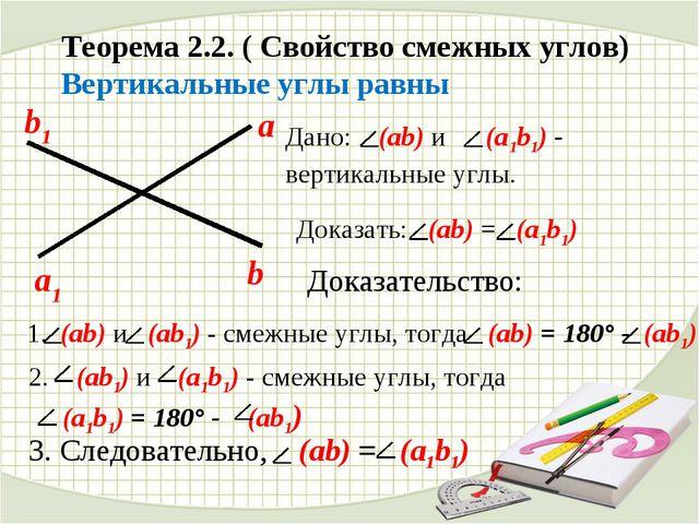 Теорема 2.2. ( Свойство смежных углов) Вертикальные углы равны Дано: (ab) и (...
