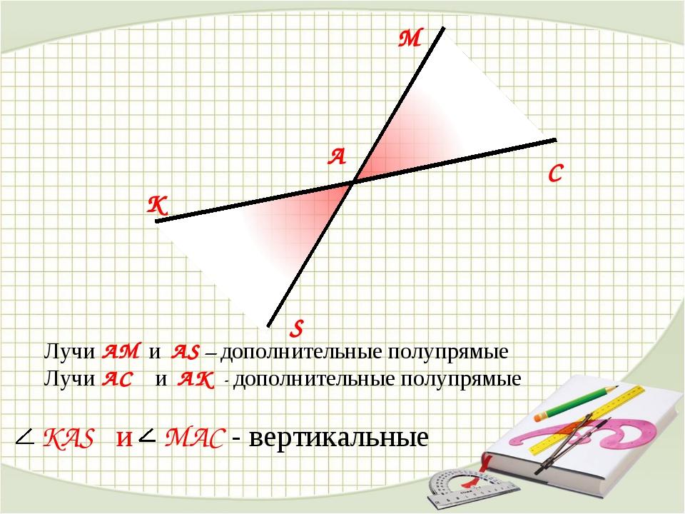 S M K C A KAS и MAC - вертикальные Лучи AM и AS – дополнительные полупрямые Л...