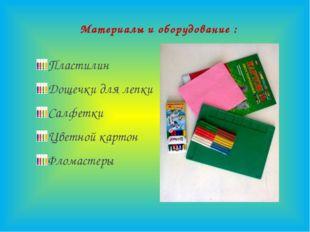 Материалы и оборудование : Пластилин Дощечки для лепки Салфетки Цветной карт