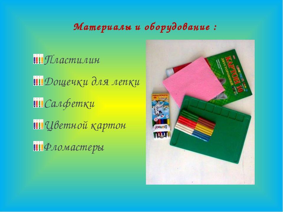 Материалы и оборудование : Пластилин Дощечки для лепки Салфетки Цветной карт...