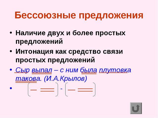 Бессоюзные предложения Наличие двух и более простых предложений Интонация как...