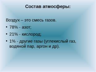 Состав атмосферы: Воздух – это смесь газов. 78% - азот; 21% - кислород; 1% -