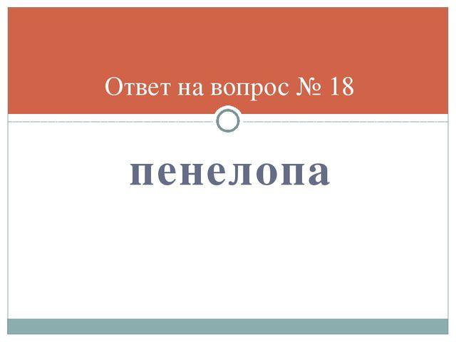 пенелопа Ответ на вопрос № 18