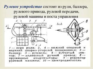 А - А Рулевое устройство состоит из руля, баллера, рулевого привода, рулевой