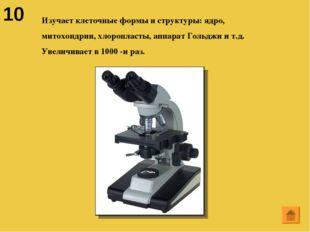 10 Изучает клеточные формы и структуры: ядро, митохондрии, хлоропласты, аппар