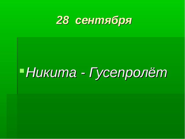 28 сентября Никита - Гусепролёт