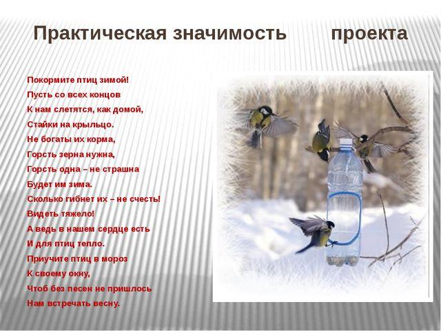 Практическая значимость проекта Покормите птиц зимой! Пусть со всех концов К...