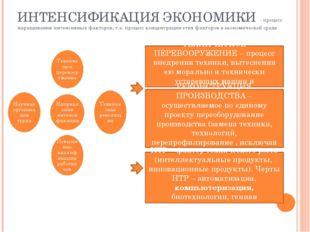 ИНТЕНСИФИКАЦИЯ ЭКОНОМИКИ - процесс наращивания интенсивных факторов, т.е. про
