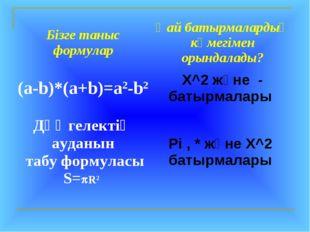 Бізге таныс формуларҚай батырмалардың көмегімен орындалады? (a-b)*(a+b)=а2-b