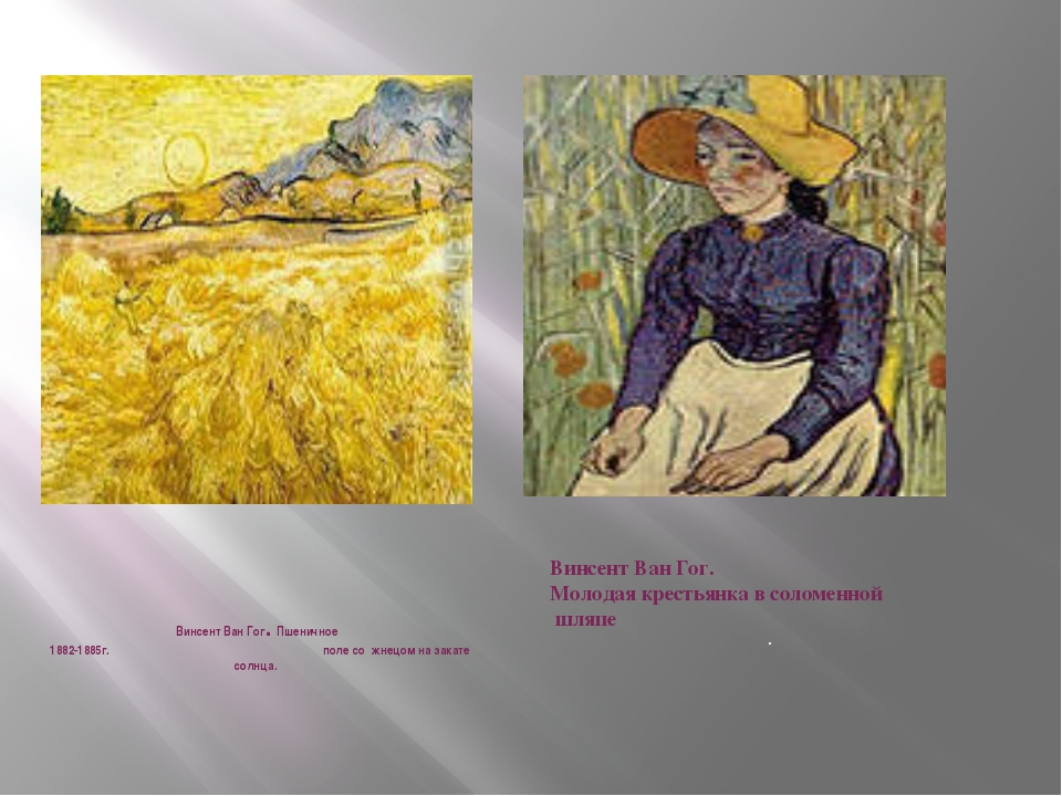Винсент Ван Гог. Пшеничное 1882-1885г. поле со жнецом на закате солнца. Винсе...